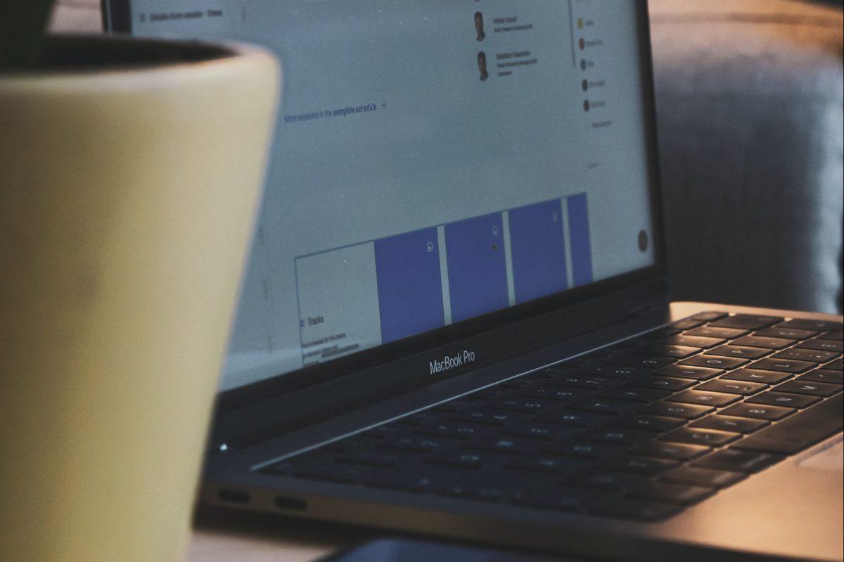 an open laptop on a desk.